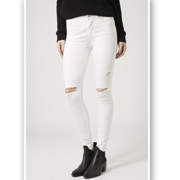 Top Shop White Ripped Moto Leigh Jeans (Tall)